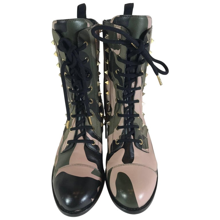 Valentino Rockstud Army Camo Leather Canvas Combat