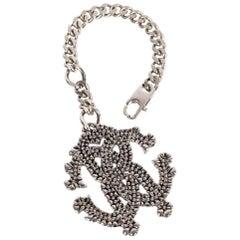 Roberto Cavalli Grained Silver Logo Cuban Link Keychain