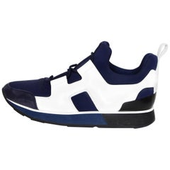 Hermes Marine, Blanc & Noir Technical Canvas & Leather H Player Sneakers Sz 37