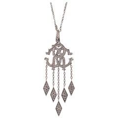 Roberto Cavalli Silver Swarovski Crystal Logo Pendant Necklace