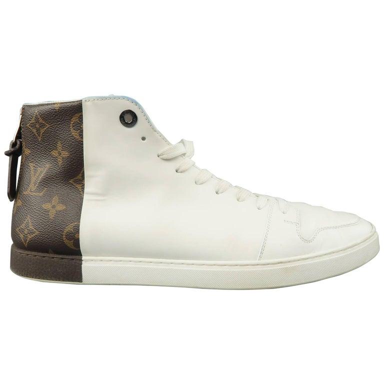 9d77697d60af Louis Vuitton Men s White Leather Brown Monogram Canvas Heel High Tops For  Sale