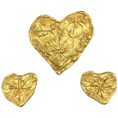 Lacroix by Goossens Gold-Plated Earrings and Brooch Modernist Heart Set, 1994