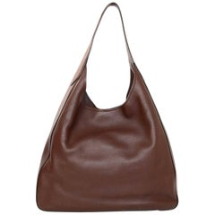 Prada Radica Brown Vitella Corsica Leather Hobo Bag