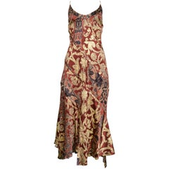 Roberto Cavalli Burgundy and Gold Bias Slip Dress