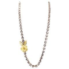 Roberto Cavalli Pearl Swarovski Crystal Double Logo Choker Necklace