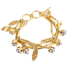 Roberto Cavalli Gold Tone Metal Floral Applique Hook and Clasp Bracelet