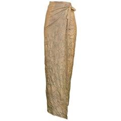Dries Van Noten Vintage Khaki Embroidered Sari Skirt, 1997