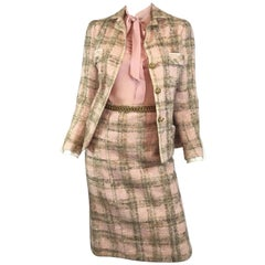 Chanel Couture 1960's Pink Tweed Skirt Suit