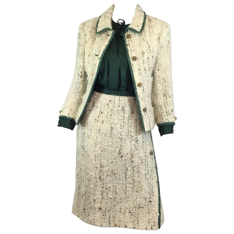 Chanel Couture Tweed Skirt Suit, 1950-1960s For Sale