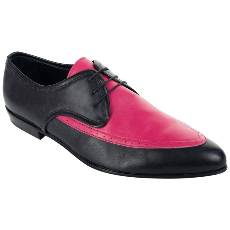Roberto Cavalli Mens Pink Pointed Two Tone Leather Lace up Shoe