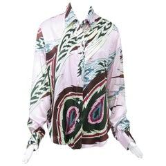 Alexander McQueen Silk Print Blouse, Larger Size
