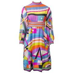 Pucci Silk Print 1960s Empire Dress