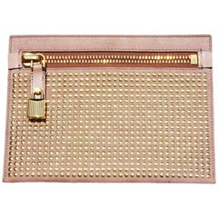 New $1190 Tom Ford Alix Suede Nude/Gold Studded Pouch Clutch Bag with Lock