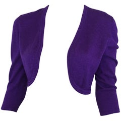 Oscar de la Renta Purple Cashmere Shrug Sweater