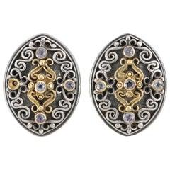 KONSTANTINO Sterling Silver 18K Gold Amethyst Two Tone Filigree Clip On Earrings