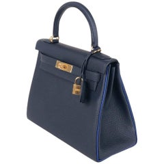 Hermes Bag Kelly 28 Special Order HSS Blue Marine/ Blue Electric ghw