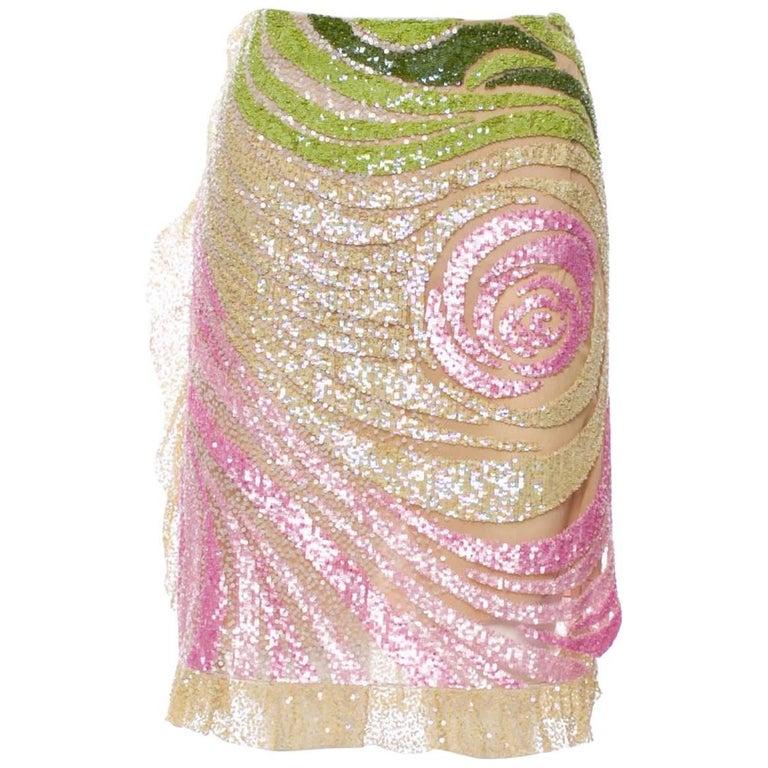 Valentino Sequin Embellished Knee Length Tulle Skirt size 6