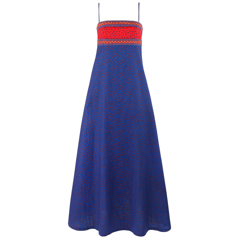 ANNE KLEIN c.1970's Blue & Red Floral Paisley Print Empire Waist Maxi Dress