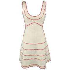 Herve Leger Beige and Coral Scalloped Bandage Hanah Dress