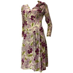 1940s Orchid Print Rayon Crepe Dress W/ Dramatic Orchid Corsage