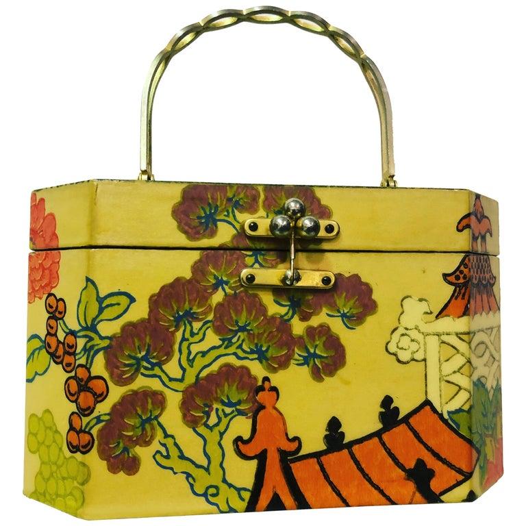 1960s Annie Laurie Originals Palm Beach Box Bag In Chinese Motif