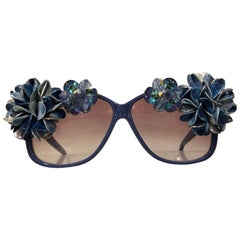 Revelli Violet Sunglasses With Crystal Jewels and Flower Adornments, 1980s