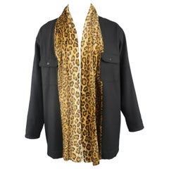 Yohji Yamamoto Pour Homme Black Leopard Shawl Collar Jacket, 1996