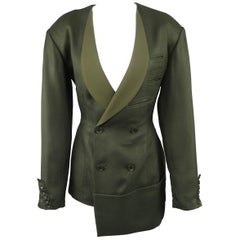Yohji Yamamoto Olive Green Asymmetrical Double Breasted Jacket
