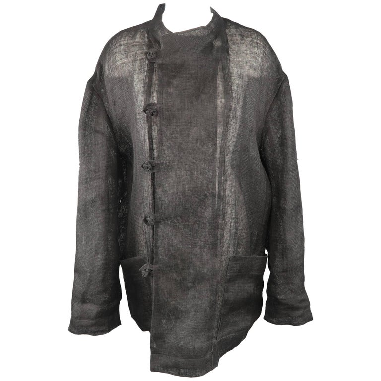 Issey Miyake Black Woven Linen Band Collar Double Breasted Jacket