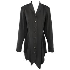Matsuda Black Pleated Scalloped Skirt Blouse Jacket