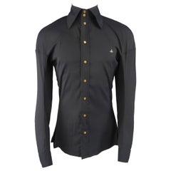 Vivienne Westwood Black Stretch Wool High Collar Orb Shirt
