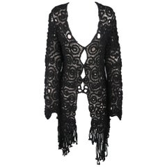 Matsuda Black Wool Crochet Fringe Cardigan