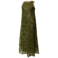 Pat Sandler Moss Green Lace Overlay Sequin Rhinestone Trim column gown, 1960
