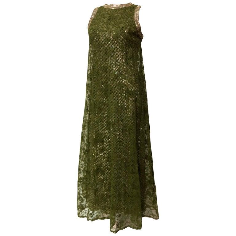 Pat Sandler Moss Green Lace Overlay Sequin Rhinestone Trim column ...