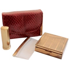Rex Fifth Ave Snakeskin Mini Clutch + Compact Mirror Lipstick Holder Comb 1950s