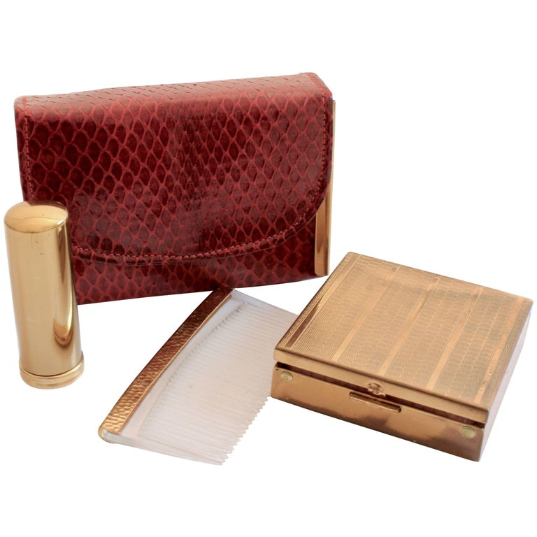 Rex Fifth Ave Snakeskin Mini Clutch + Compact Mirror Lipstick Holder Comb 1950s For Sale