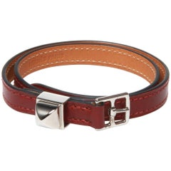 Hermes O stamped brown buckle leather band/bracelet in authentic box
