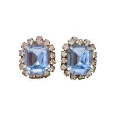 50'S Silver & Austrian Crystal Rhinestone Earrings