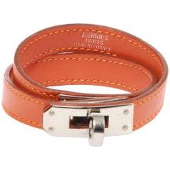 HERMES Tadelakt Leather Kelly Double Tour Bracelet Orange with box