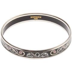 Hermes narrow printed enamel bracelet