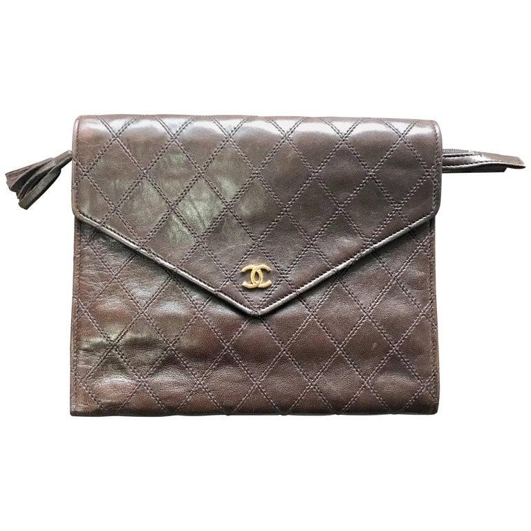 Vintage CHANEL brown clutch bag, wallet, bill, checkbook, iPhone case purse.  For Sale