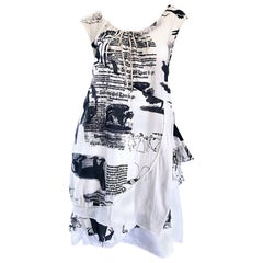 Rare 56G S / S 2006 Japanese Black and White Novelty Newspaper Print Dress