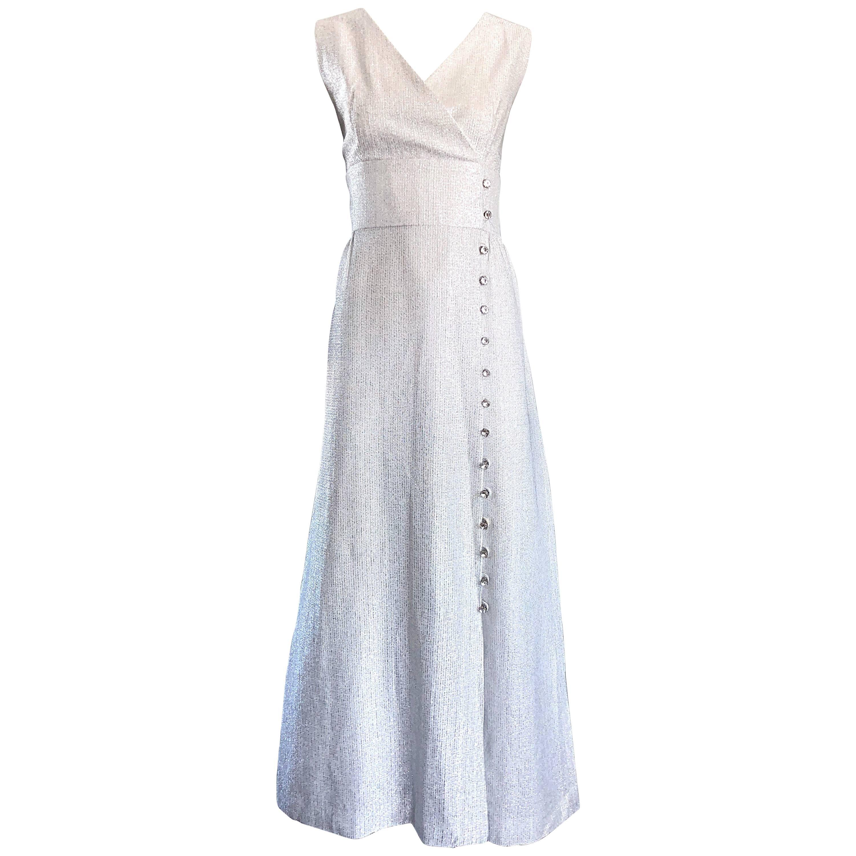 Beautiful 1970s Silver Metallic Lurex Rhinestone Buttons Sleeveless Maxi Dress