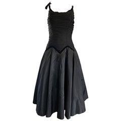Beautiful 1950s Black Silk Taffeta Fit and Flare Vintage Sleeveless 50s Dress