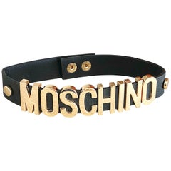 1990s Moschino Black and Gold Leather Vintage 90s Logo Choker Necklace