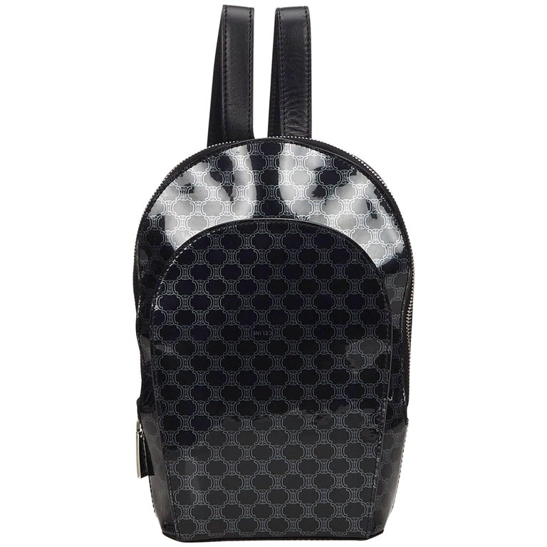 Celine Black Macadam Patent Leather Backpack For Sale