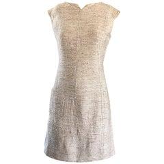 Chic 1960s Oatmeal Beige Irish Linen Vintage 60s A Line Mini Dress w/ Pockets