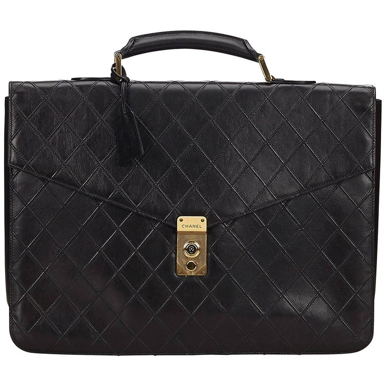Chanel Black Matelasse Quilted Leather Briefcase