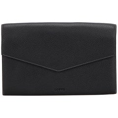 Loewe Black Leather Envelope Clutch Bag