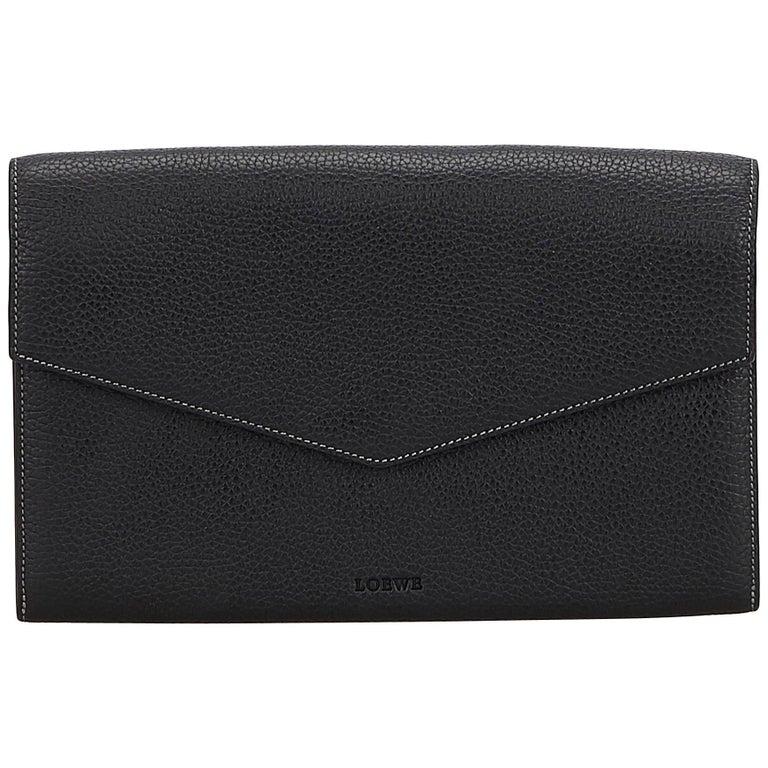 Loewe Black Leather Envelope Clutch Bag